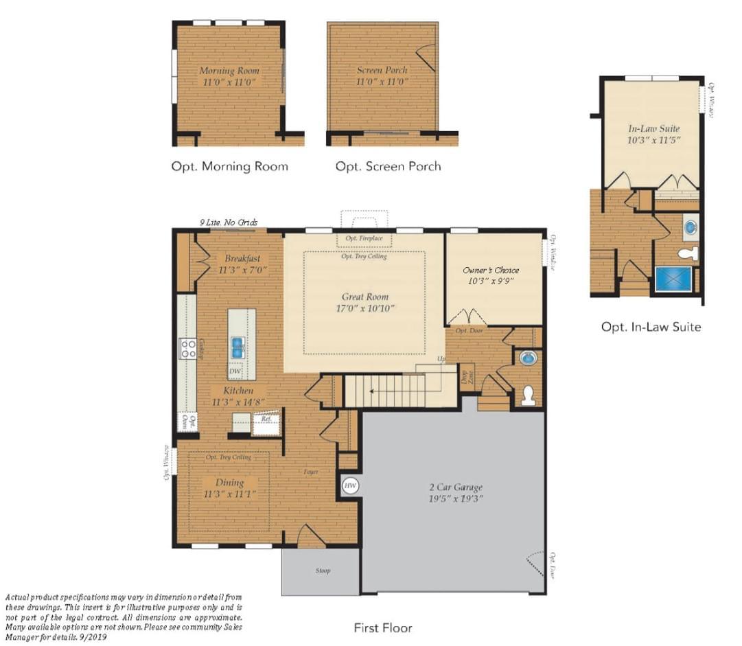 First Floor. Deerfield Home with 4 Bedrooms