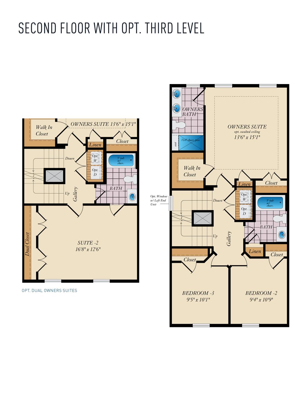 Second Floor with Optional Third Floor .