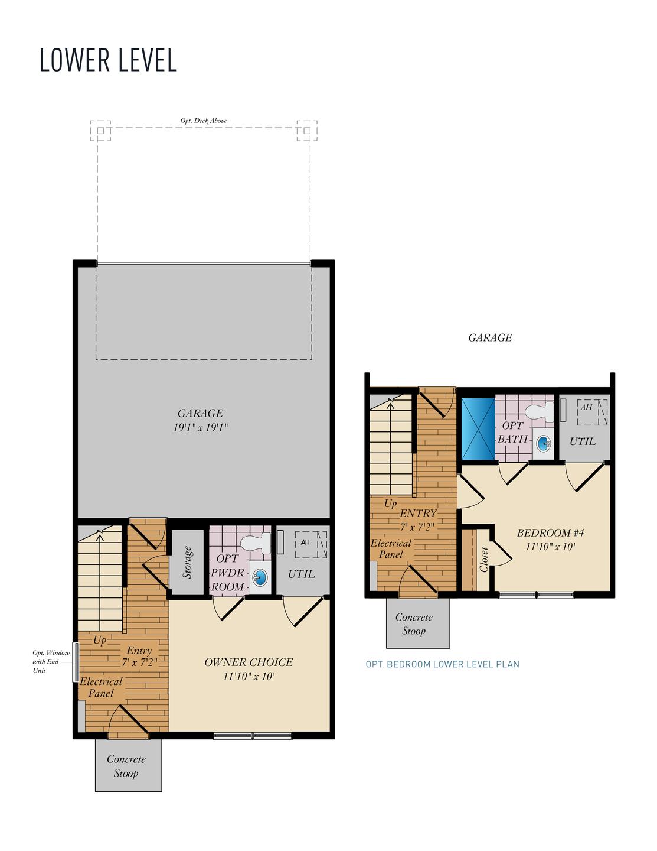Lower Level . Wye - Rear Load New Home Floor Plan
