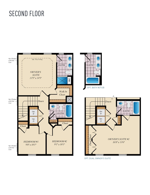 Second Floor . Wye - Rear Load New Home Floor Plan