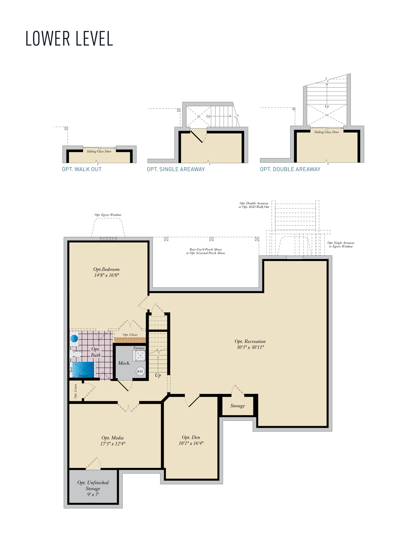 Lower Level. Coverdale New Home Floor Plan