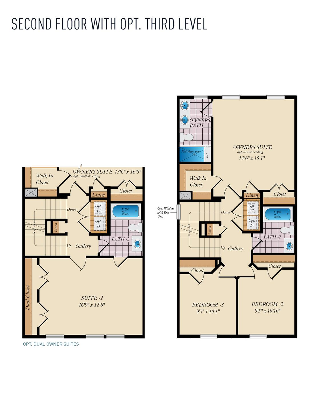 Second Floor w/Opt 3rd Level. 1,784sf New Home